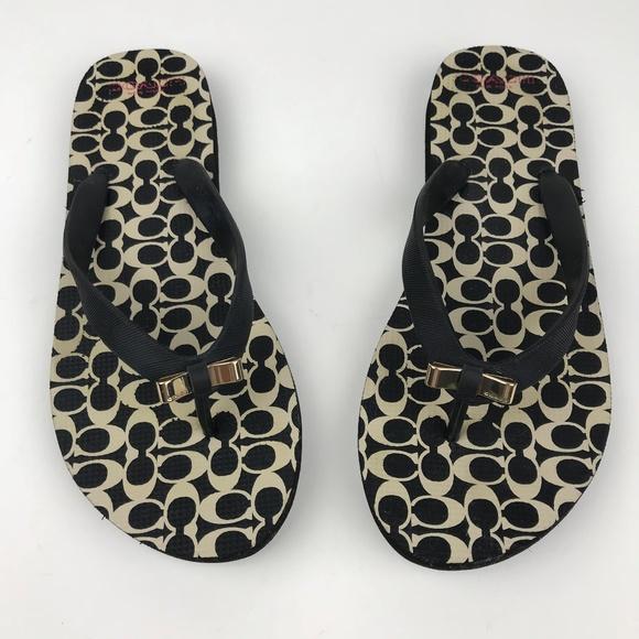 c7d7bbf60ff0c5 COACH Amel Rubber Flip Flop Sandals With Gold Bow